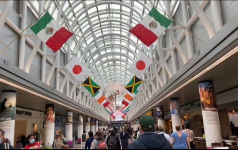 Travellers walk through Chicago's O'Hare Airport with their masks on.