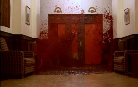 Blood flows in front of the Hotels Elevator