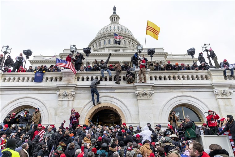 Rioters storm the U.S. Capitol building on January 6, 2021 (Courtesy of NBC News).