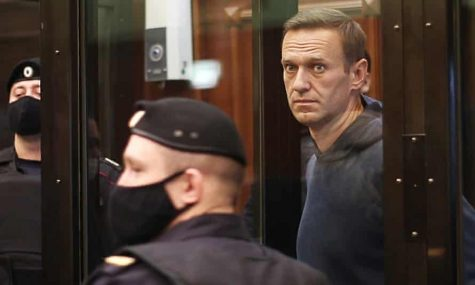 Navalny was sentenced to two years and eight months in prison for violating the parole rules of a 2014 conviction (Courtesy of the Guardian).