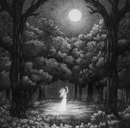 Artwork of a woman dancing under the moon.