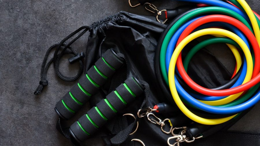 Resistance body bands, jump ropes
