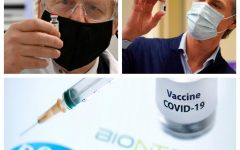 British PM Boris Johnson and California's Governor Gavin Newsom observing COVID-19 vaccines.