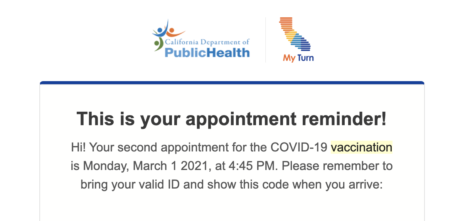 An appointment reminder email for my second COVID-19 vaccine.